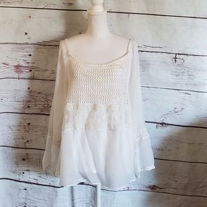 Sundance Off the Shoulder Crochet and Lace Blouse